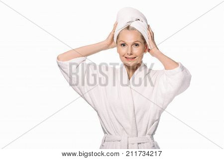 Middle Aged Woman In Bath Robe