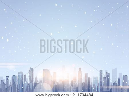 beautiful winter city landscape skyscraper buildings in snow merry christmas and happy new year background flat
