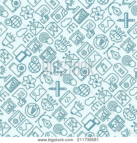 Digital marketing seamless pattern with thin line icons: searching idea, development, optimization, management, communication. Vector illustration for banner, web page, print media.