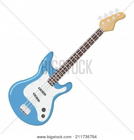 Bass guitar flat icon, music and instrument, sound sign vector graphics, a colorful solid pattern on a white background, eps 10.