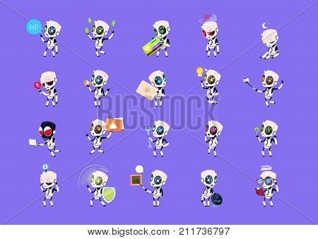 Set Of Cute Robots Icons Isolated On Blue Background Modern Technology Artificial Intelligence Concept Vector Illustration
