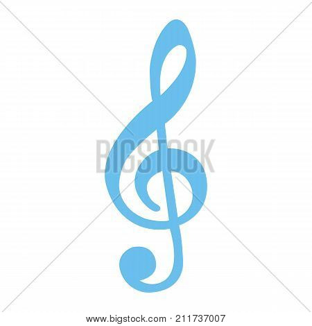 Treble Clef flat icon, music and instrument, note sign vector graphics, a colorful solid pattern on a white background, eps 10.