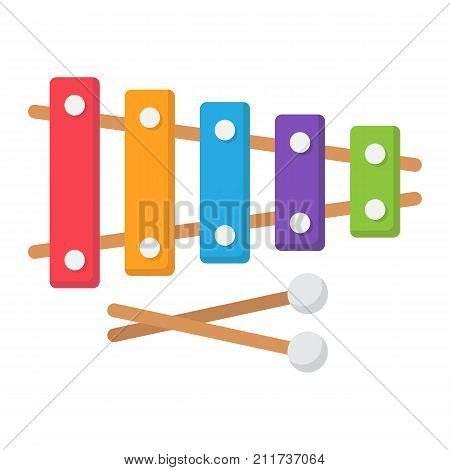 Xylophone flat icon, music and instrument, sound sign vector graphics, a colorful solid pattern on a white background, eps 10.