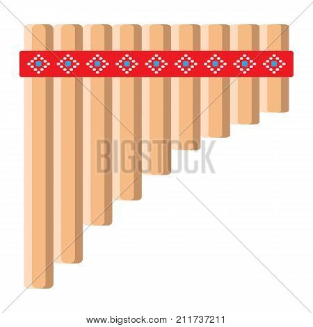 Mexican pan flute flat icon, music and instrument, panpipe sign vector graphics, a colorful solid pattern on a white background, eps 10.