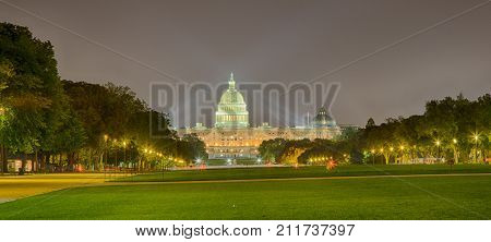September 12 2017 Washington DC USA: The United States Capital at night during the Trump Administration.