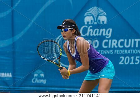 BANGKOK MAY 27 : Bunyawi Thamchaiwat of Thailand action in Chang ITF Pro Circuit 4 International Tennis Federation 2015 on WS main draw at Rama Gardens Hotel on May 27 2015 in Bangkok Thailand.