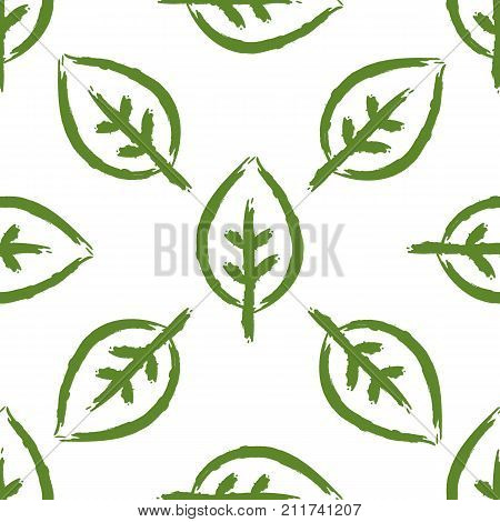 Seamless pattern with leaves painted by brush. Bio Eco Organic template. Sketch graffiti watercolour. Vector illustration. Repeated green foliage on white background.