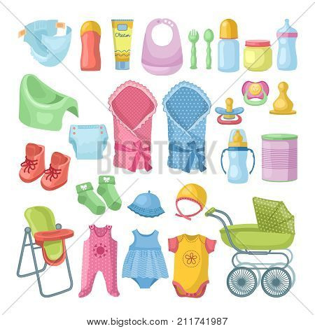 Illustrations set of newborn stuff. Different pictures set in cartoon style. Child and baby wear toy, accessory for newborn baby vector