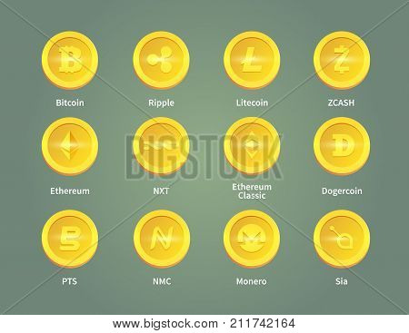 Criptocurrency blockchain vector icons. Set of gold coins. Bitcoin, ripple, litecoin, zcash, ethereum, nxt, ethereum classic dogercoin pts nmc monero sia