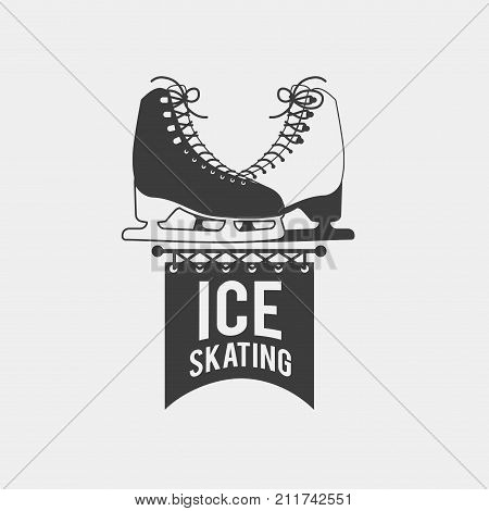 Badge with a pair of ice skates. Monochrome symbol with a pair of sports boots. This ice skating logo can be used for social network and web advertising or brand promotion.