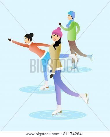 Female and male characters are skating on ice. Happy people are going skating together.