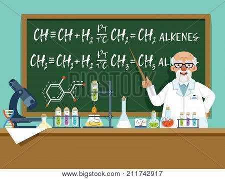 Professor in his laboratory for experiments. Medical and chemical ingredients. Vector background illustration. Cartoon professor experiment chemistry in lab poster