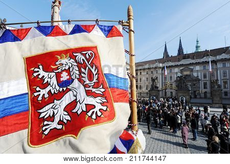Historical coat of arms of Czechoslovakia in front of Prague castle, Prague, Czech republic