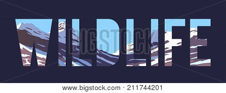 Vector illustration on the themes of wild nature of the USA, survival in the wild, hunting, camping, trip. Mountain landscape. Wildlife.