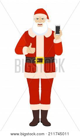 Santa Claus with mobile phone showing thumb up. Full length portrait of Santa Claus in a flat style. Vector illustration.