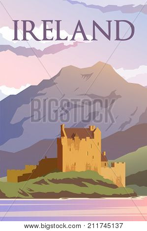 Vector retro poster. A castle in Ireland. Travel poster. Flat design.
