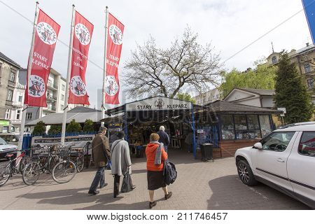 Krakow Poland - April 25 2017: entrance of the market Stary Kleparz in Krakow Poland. The covered marketplace has a tradition over 800 years.