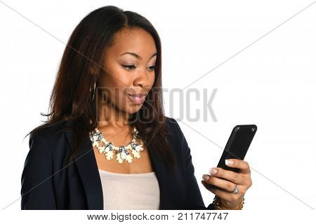 African American Businesswoman using cellphone isolated over white background