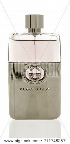 Winneconne WI - 21 October 2017: A bottle of Gucci Guilty cologne on an isolated background.