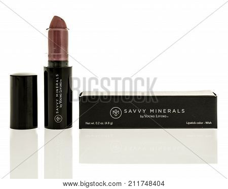 Winneconne WI - 24 October 2017: Lipstick by Young Living Savvy Minerals on an isolated background.