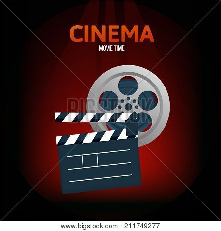 Cinema, movie time concept. Classical film with a film, accessory for the removal of the film's double. Vector illustration isolated.