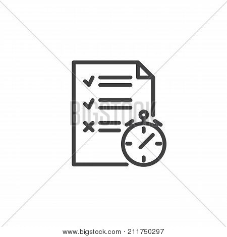 Test paper list and stopwatch line icon, outline vector sign, linear style pictogram isolated on white. To do list symbol, logo illustration. Editable stroke
