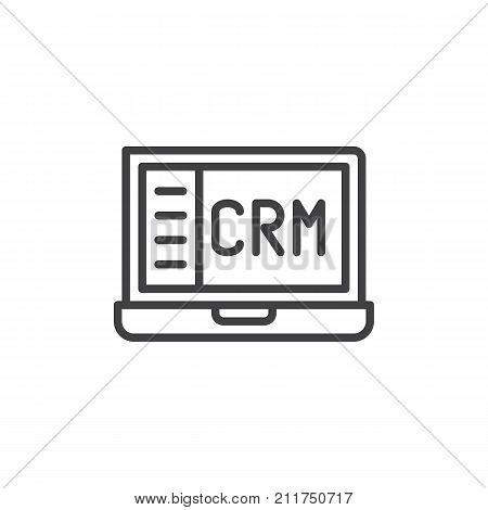 Crm notebook line icon, outline vector sign, linear style pictogram isolated on white. Customer relationship management symbol, logo illustration. Editable stroke