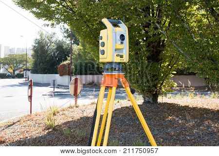 Surveyor Equipment Tacheometer Or Theodolite Outdoors At Construction