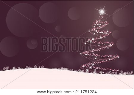 Christmas time. A Christmas tree with lighting and star in winter landscape.