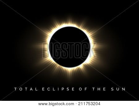Total eclipse of the sun poster. Darkness and solar corona glow in universe vector background