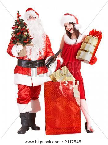 Christmas shopping of girl and santa clause with tree. Isolated.