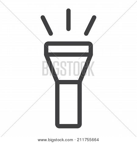 Flashlight line icon, web and mobile, torch sign vector graphics, a linear pattern on a white background, eps 10.