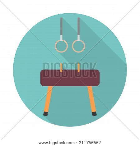 Gymnastics equipment. Vaulting horse Pommel Horse with gymnastics rings. Sport and workout. Vector icon flat color style. Web design element for site, mobile and business.