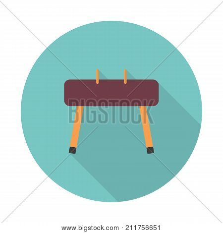 Gymnastics equipment. Vaulting horse Pommel Horse. Sport and workout. Vector icon flat color style. Web design element for site, mobile and business.
