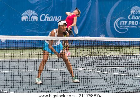 BANGKOK MAY 27 : Lizette Cabrera and Zoe Hives of Australia action in Chang ITF Pro Circuit 4 International Tennis 2015 at Rama Gardens Hotel on May 27 2015 in Bangkok Thailand.