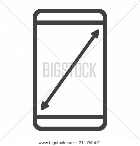 Resize mobile screen line icon, web and mobile, display sign vector graphics, a linear pattern on a white background, eps 10.
