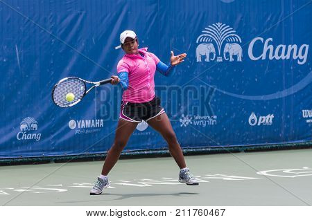 BANGKOK MAY 27 : Snehadevi S Reddy of India action in Chang ITF Pro Circuit 4 International Tennis Federation 2015 on WS main draw at Rama Gardens Hotel on May 27 2015 in Bangkok Thailand.