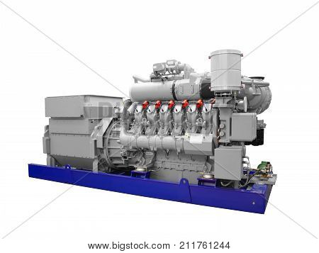 Gas piston diesel electric generator solated on white background