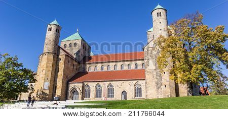 HILDESHEIM, GERMANY - OCTOBER 15, 2017: Panorama of the St. Michaelis monastery in the historic center of Hildesheim Germany