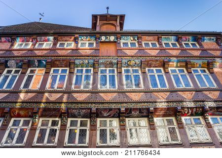 HILDESHEIM, GERMANY - OCTOBER 15, 2017: Facade of the historic Butchers Guild Hall building in Hildesheim Germany