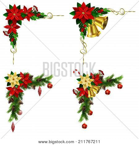 Christmas corner decoration set with evergreen treess pine cones and poinsettia isolated vector