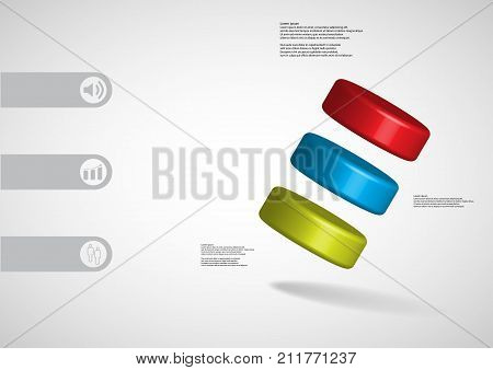 3D Illustration Infographic Template With Three Cylinder Askew Arranged
