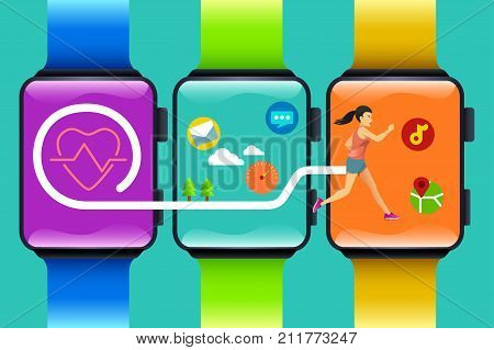 A vector illustration of Fitness Watch Technology Concept