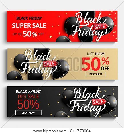 Set of sale banners for black friday. Black, gold and red discount cars with shiny balloons and golden spangles. Vector illustration.