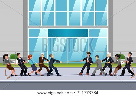 A vector illustration of Business People in Tug of War