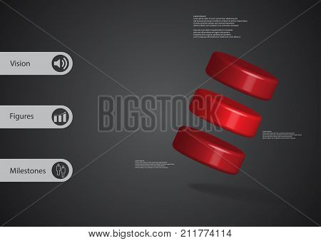 3D illustration infographic template with motif of three red cylinders askew arranged with simple sign and sample text on side in bars. Dark grey gradient is used as background.