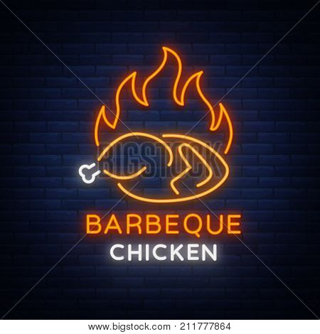 Logo Chicken Barbecue is a neon-style logo for a food store and a restaurant. Neon sign, night bright advertising chicken grill. Vector illustration.