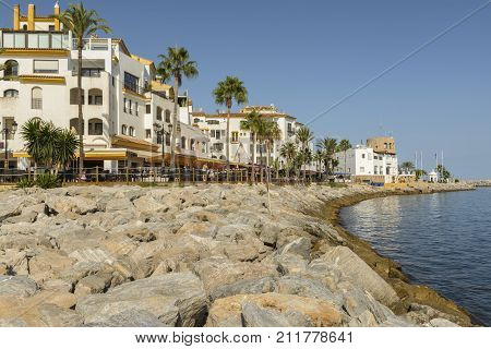 Park Plaza Suites Hotel is in the Puerto Banus yachting harbour of Marbella in front of the beach in one of the more exclusive places of the Mediterranean on August 31 2017 Spain.