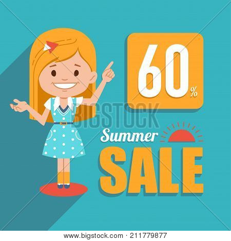 Hot summer sale banner. Advertising shopping banner with pretty girl character. Big summer sale. Discount 60. Seasonal sale.Illustration for for online shop, newsletter or email marketing, advertising