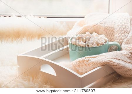 Blue Cup Of Hot Chocolate With Marshmallow On White Windowsill With Furskin For Rest. Holiday.